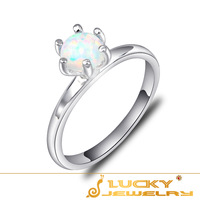 Free Shipping 925 Sterling Silver Ring Fine Fashion Round Fire Opal Stone Jewelry Ring Women Gift Finger Rings Russian Ring