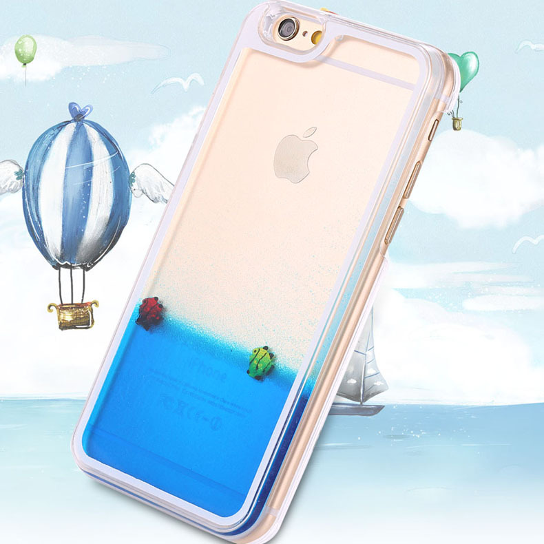 Funny Liquid Sea Water Moving Case For Apple iphone 6 Colorful Transparent Ultra Thin Mobilephone Cover Shell For iPhone 6 Plus(China (Mainland))