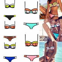 High Quality Sexy Triangle Bikini Swimwear Women Bandage Beachwear 2015 New Fashion Bathing Suit Drop Shipping