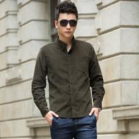 Wholesale 2015 New Men's Fashion Popular Corduroy Pure Color Shirts Casual Slim Fit Stylish Mens Dress Shirts  8 colors