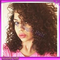"2015 Brazilian virgin hair full lace wig 130% density 14""-30"" dark brown color brazilian virgin hair kinky curly lace front wig"