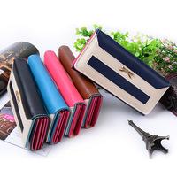 Women Wallets Fashion ladies wallet Creative horizontal stripes color metal bowknot female long hand bag Purse Wholesales