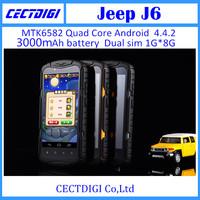 New waterproof phone Jeep j6 5.0'' 1280x720P IPS MTK6592 Octa Core 1.7GHz 1GB 8GB 13.0MP  Russian German multilanguage