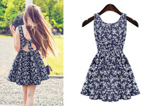 2015 fashion women hollow out back  print lace  backless sleeveless dress