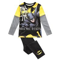 Teenage kids boys cartoon batman Pajamas shirt&pants sleepwear set cartoon suits costumes children homewear spring autumn