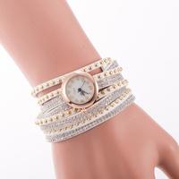 Wholesale New European Fashion Exaggerated Sparkling Rhinestones Woman Decorative Dress Leather Bracelet Quartz Watch reloj