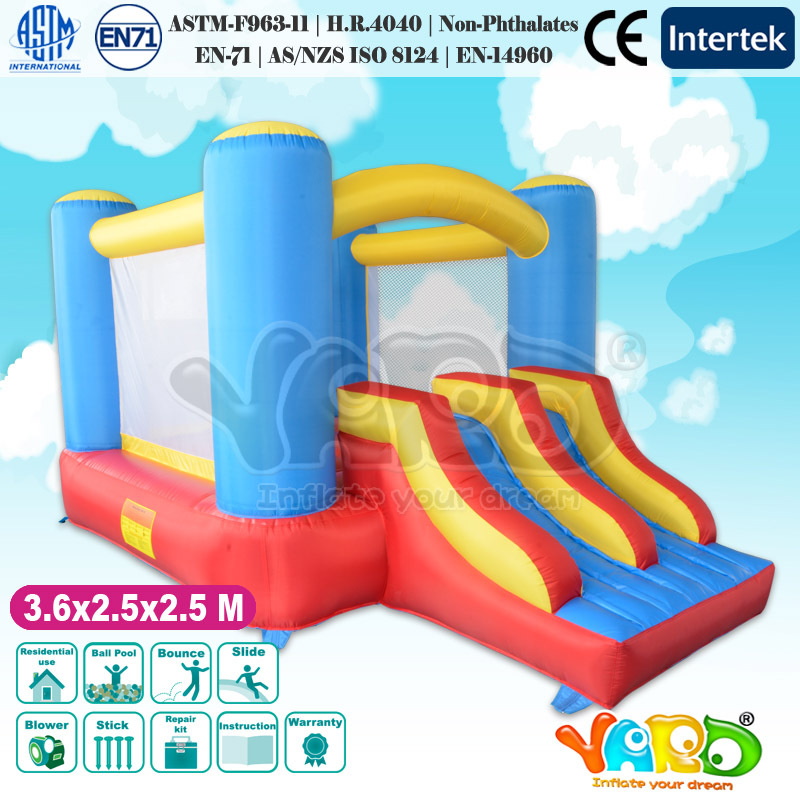 Dual slides inflatable bounce house kids toy inflatable trampoline combo with air blower(China (Mainland))