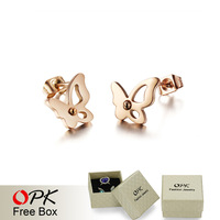 OPK Classical Butterfly Women Stud Earrings Fashion New 2015 Silver/Rose Gold Full Steel Jewelry Gift Earring GE286