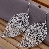Hollow leaf 925 sterling silver female fashion big earings Jewelry crystal Drop earrings trendy women earrings Free shipping