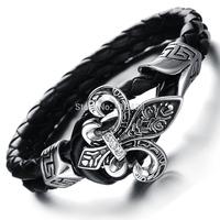 Men's Stainless Steel Knight Fleur De Lis Lether Bracelet, Black Silver 10mm wide .7.07'' lenght