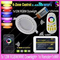 1x Mi.Light 12W RGBW /RGBWW Smart LED Downlight w/driver AC85-265V +1x2.4G RF Wireless 4-Zone Remote + 1x WiFi Controller Hub