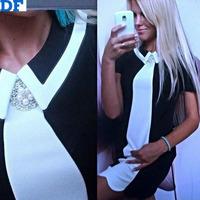 Black White Patchwork Causal Dress 2015 Vintage Women Dress Short Sleeve Mini Summer Dress Promotion Plus Size XL Women Clothing