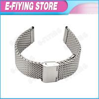 20mm 316L Stainless Steel Shark Mesh Wrist Bracelet for Breitling Watchband Adjustable Flat End Silver Color for Citizen