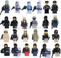 FBI City police Minifigure compatible Ninjago Star wars trooper Castle Knight Weapon Shield Building Block action figures