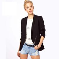 fashion brand OL lapel oblique zipper back split ends handsome women blazers black slim ladies leisure suit J1090