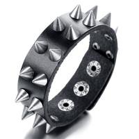 Mens Leather Bracelet, Punk Rock Bangle, Adjustable, Black, KR7822