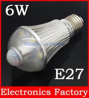 1PCS E27 Aluminum 6W AL1035 Infrared Pir Motion Sensor 6 LED Auto Cool White Light Bulb Lamp 90-250V Bright