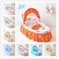 Baby Care Bedding Product Baby Bassinet 100% Corn Husk Straw Braid Cradles Portable Baby Crib Infant Sleeping Baskets 11 Colors