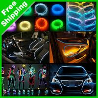 5Pcs 5-meter 10colors Flexible EL Neon Glow Lighting Rope Strip + Charger for Car Decoration #J-4635
