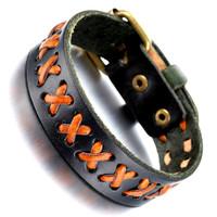 Mens Leather Bracelet, Punk Rock Bangle, Adjustable, Black red, KR7814