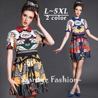 L-5XL Brand Elegant Ladies Floral Print Peter Pan Collar Short Sleeve A-Line Dresses Spring Summer Plus Size Casual Dress 8012