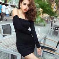 2015 women's new fashion ladies slash neck hips tight-fitting long sleeve black solid sexy nightclub stretch dress
