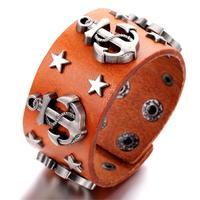 Mens Leather Bracelet, Punk Rock Bangle, Adjustable, Brown, KR7828