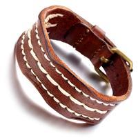 Mens Leather Bracelet, Punk Rock Bangle, Adjustable, Brwon, KR7819