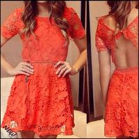 Wholesale orange rose women dress 2015 fashion lace dress new crochet open back party dresses