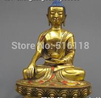 """Free Shipping 12""""Tibet Buddhism Temple Refined Bronze Gild Sakyamuni Ru Lai Buddha Statue"""