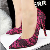 Fashion women's shoes,High thin heels shallow mouth pointed toe lace sexy pumps for girls,6 colors,Free shipping