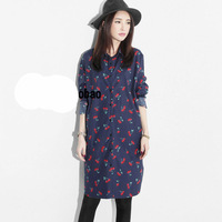 2015 New vintage dress for women fruits printed lady long dress plus size woman casual dress lady shirt tunics vestido de festa