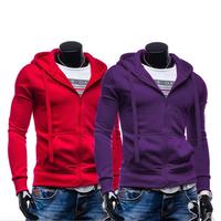 2015 New Spring Autumn Men's Casual Hoodies zipper Slim fit hoodies Hooded Couple Hoodies 6 Beauty Colors