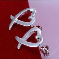 Heart  925 sterling silver earing 925 crystal stud earrings trendy fashion fine earrings for women Wholesale Free shipping