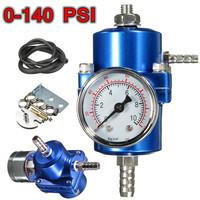 0-140 PSI Blue Fuel Pressure Regulator Adjustable Pressure Gauge