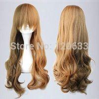 Harajuku Zipper Lolita mix blonde Gradient 60cm curly Cosplay Party Wig Kanekalon Hair brazilian no Lace Front Wigs