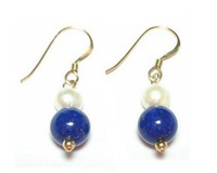 New Fine Pearls Jewelry Natural AAA Genuine White Pearl & Lapis Bead 14K Yellow Gold Hook Earrings
