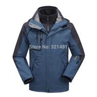 2 in 1 men outdoor hiking jacket 2015 winter man sports coat waterproof Skiing Camping & Climbing windstopper men's windbreaker