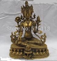 "Free Shipping 12""Tibet Buddhism Monastery Copper Brass Green Tara Goddess Buddha Statue"