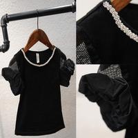 5pcs/lot 2015 spring summer ho sale girls black short-sleeved diamond collar t shirt 391