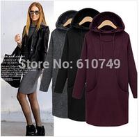 free shipping S-4XL vestidos plus size 2015 cueca vestidos winter women hoodies long plus thick velvet sweatshirt women tops