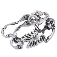 1pcs brand new men's hip hop style stainless steel brush polished skeleton bracelet 37mm 8.26""