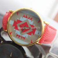 10pcs/Lot Geneva Ladies Platinum Tribal Print  Women Men Dress Casual Analog Quartz Wrist Watches PU Leather Hot Sell 2014