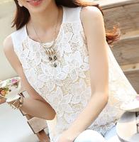 fashion women White lace blouse sleeveless backless blusas femininas camisas branca feminino feminine shirts festa