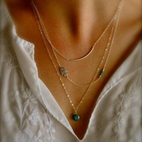 Hot Fashion Long Pendant Necklaces Gold Plated Fatima Hand &Evil Eye 3 Layer Chain Necklace multilayer Necklaces SN452