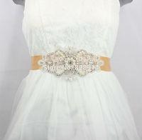 Luxury Rhinestones Applique Satin Ribbon Wedding Dress sash Bridal belt Free Shipping Handmade