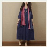 2015 Spring Summer Original design linen dress loose elegant linen one-piece dress full length dress blue green pink long dress
