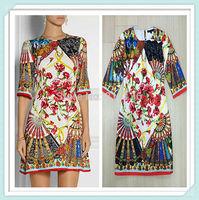 [REAL SHOT] New Fashion 2015 Women's Dress Printed Half Sleeve FREE SHIPPING