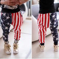 Boys pants Girl pants Design five star and stripe kids printing clothing children trousers casual sports Harem Pants calca HP011