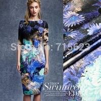 15012506Free Shipping position blue flower Digital  Printed Silk elastic Satin Fabric